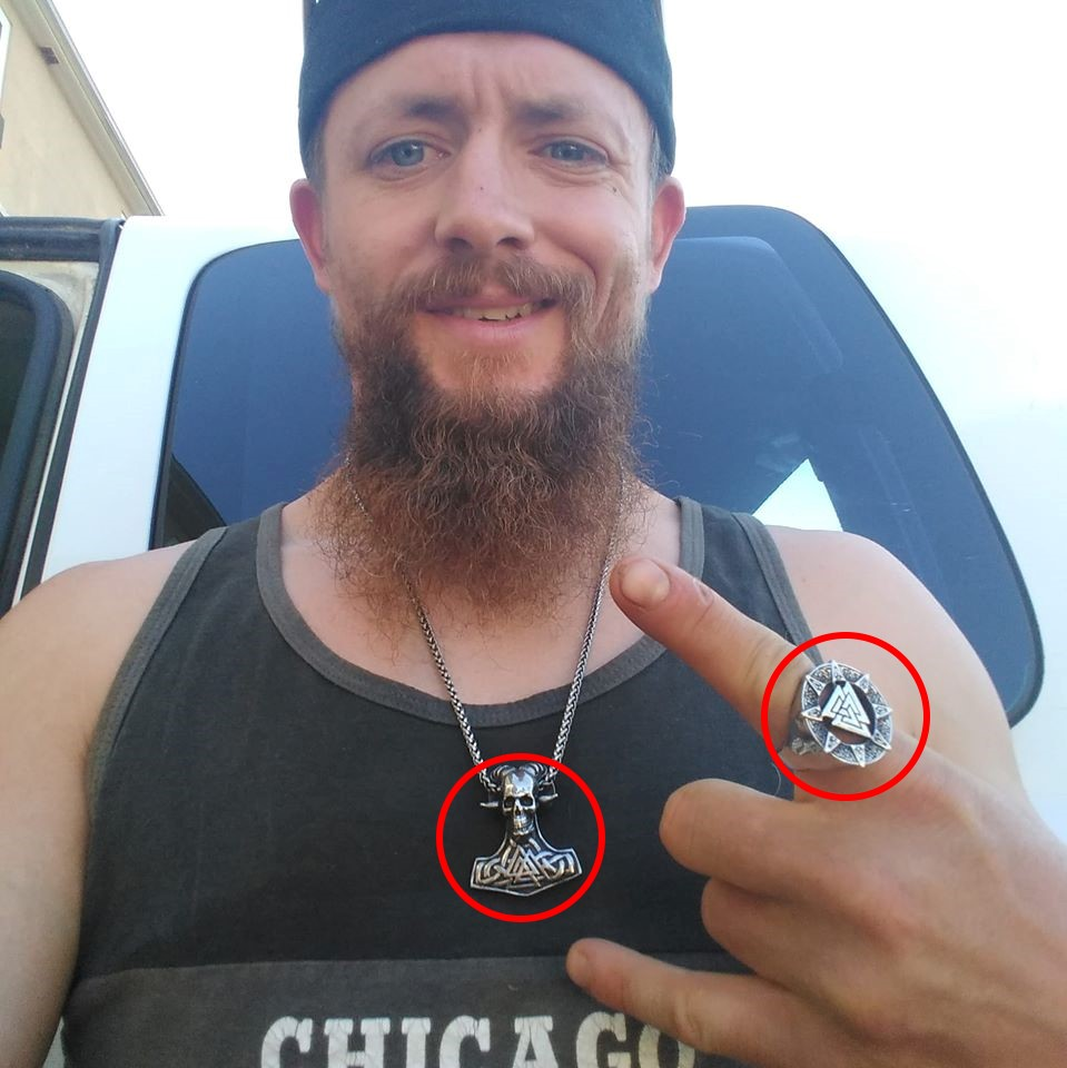 Levi Barden wears neo-pagan symbols