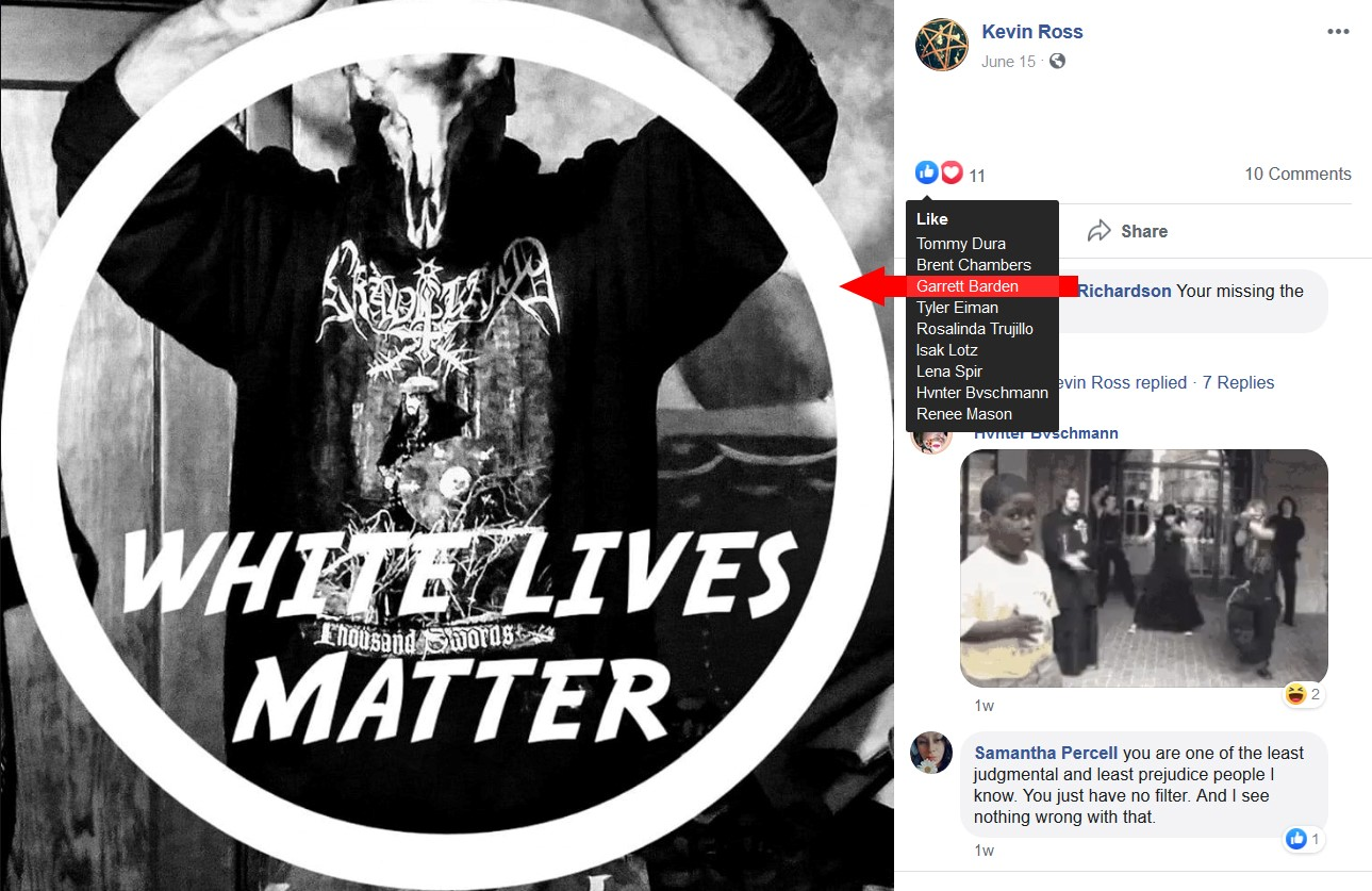 "Levi""likes"" a ""White Lives Matter"" post by Nazi Kevin Ross"