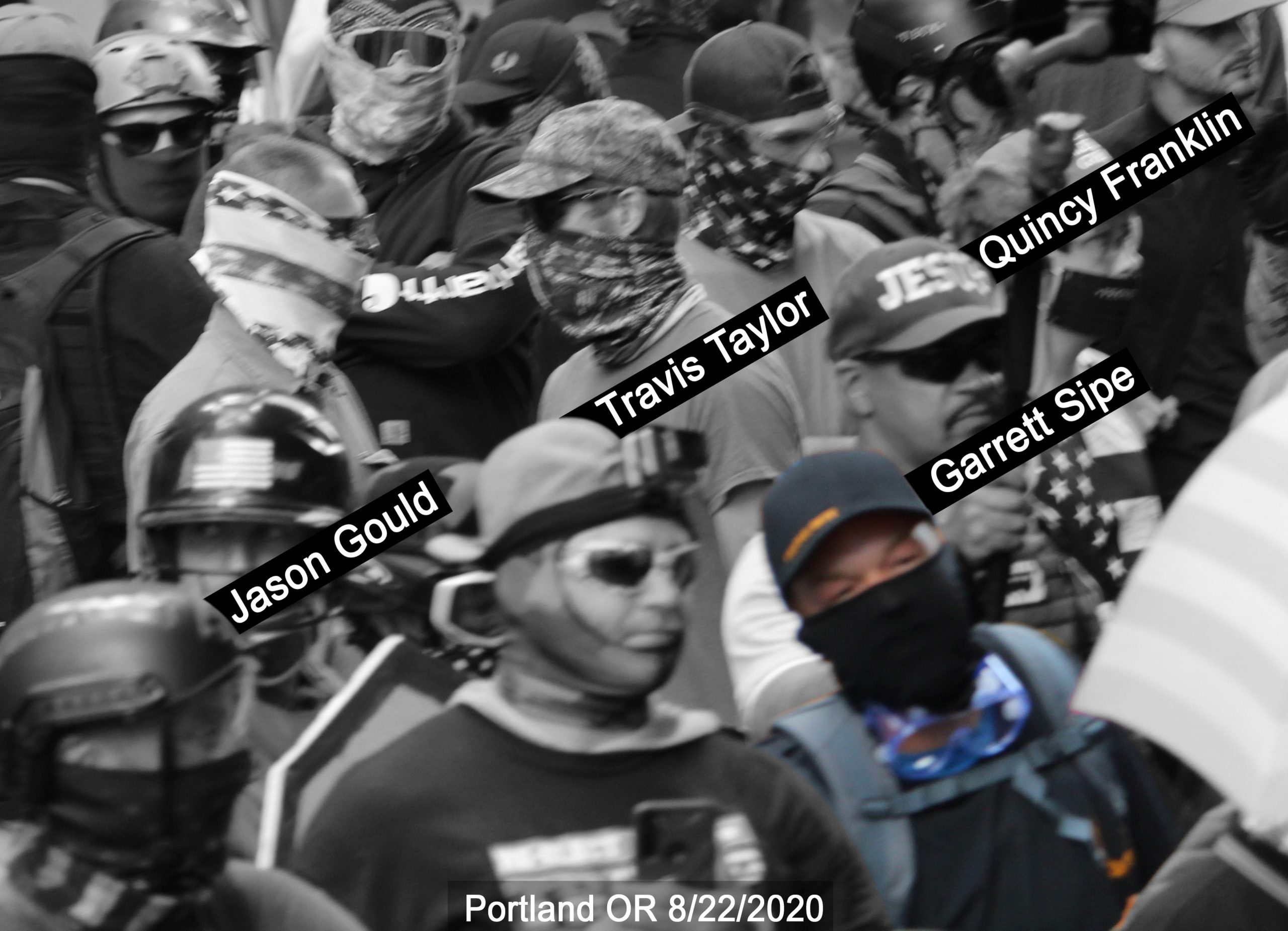 Garrett Sipe stands with other violent fascists in PDX on August 22 2020