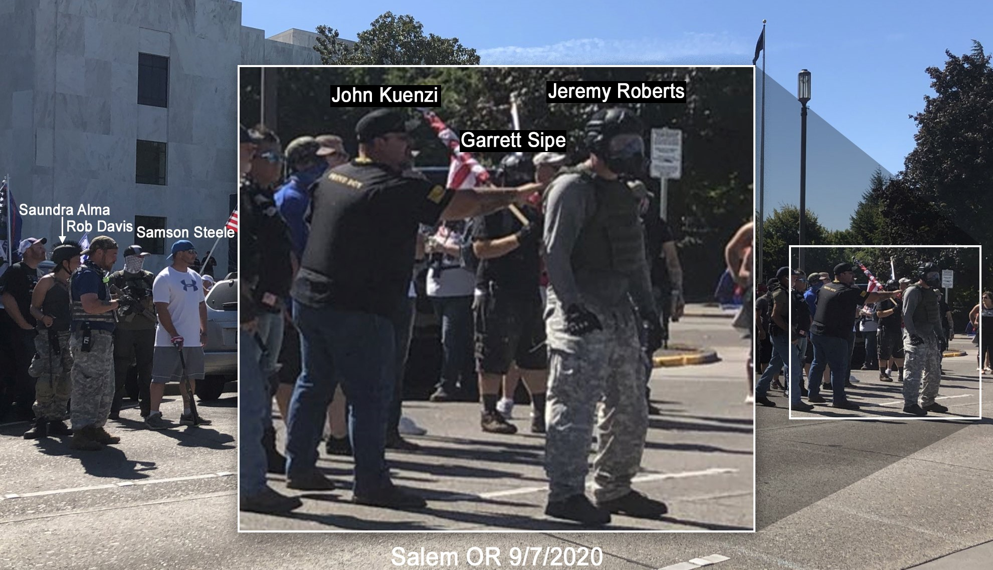 Garrett Sipe stands with other members of the Proud Boys hate group on September 7 2020, at the Oregon state capital