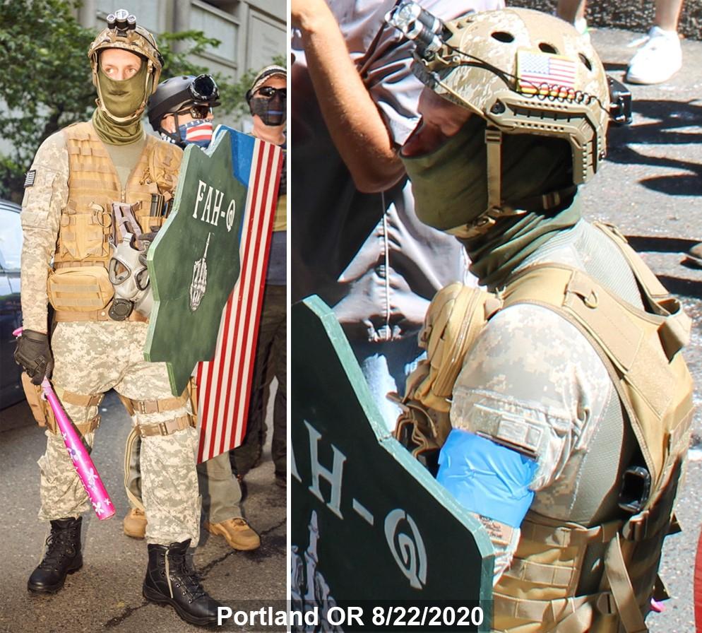 Jeffrey Mustin carries a baseball bat, shield, and handgun on 8/22/2020
