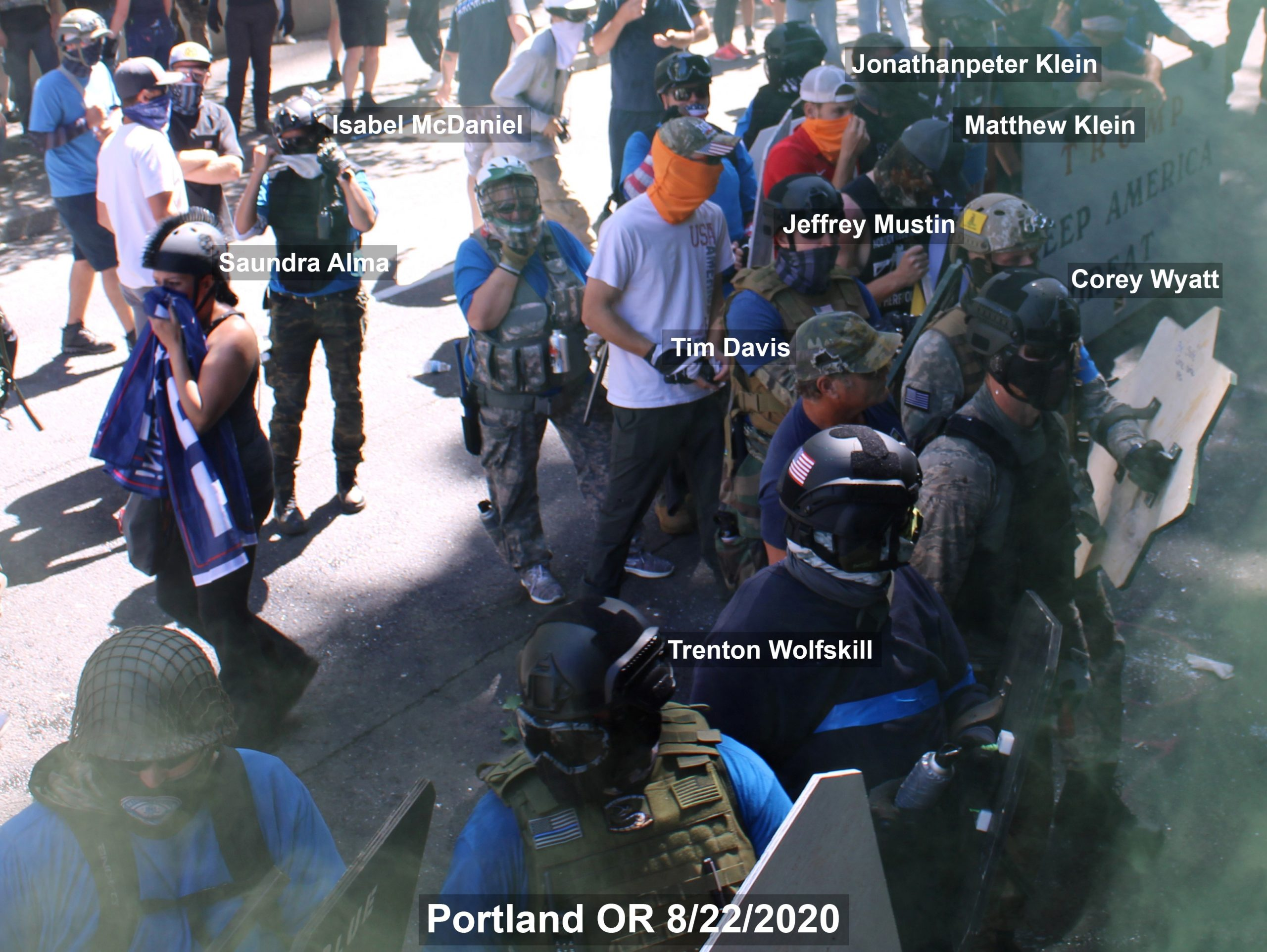 Far-right protesters gather outside the Justice Center in Portland oregon on August 22