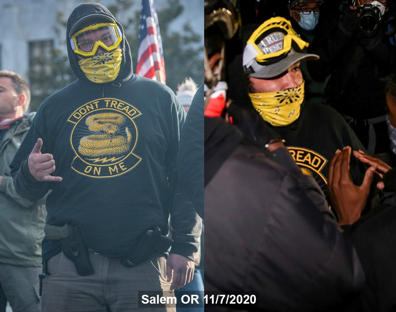 """Austin walker with two guns at an 11/7/20 """"Stop the Steal"""" rally in Salem, OR"""