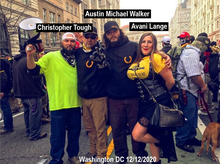 Austin Walker, Christopher Tough, and Avani Lange in DC for a Proud Boys rally