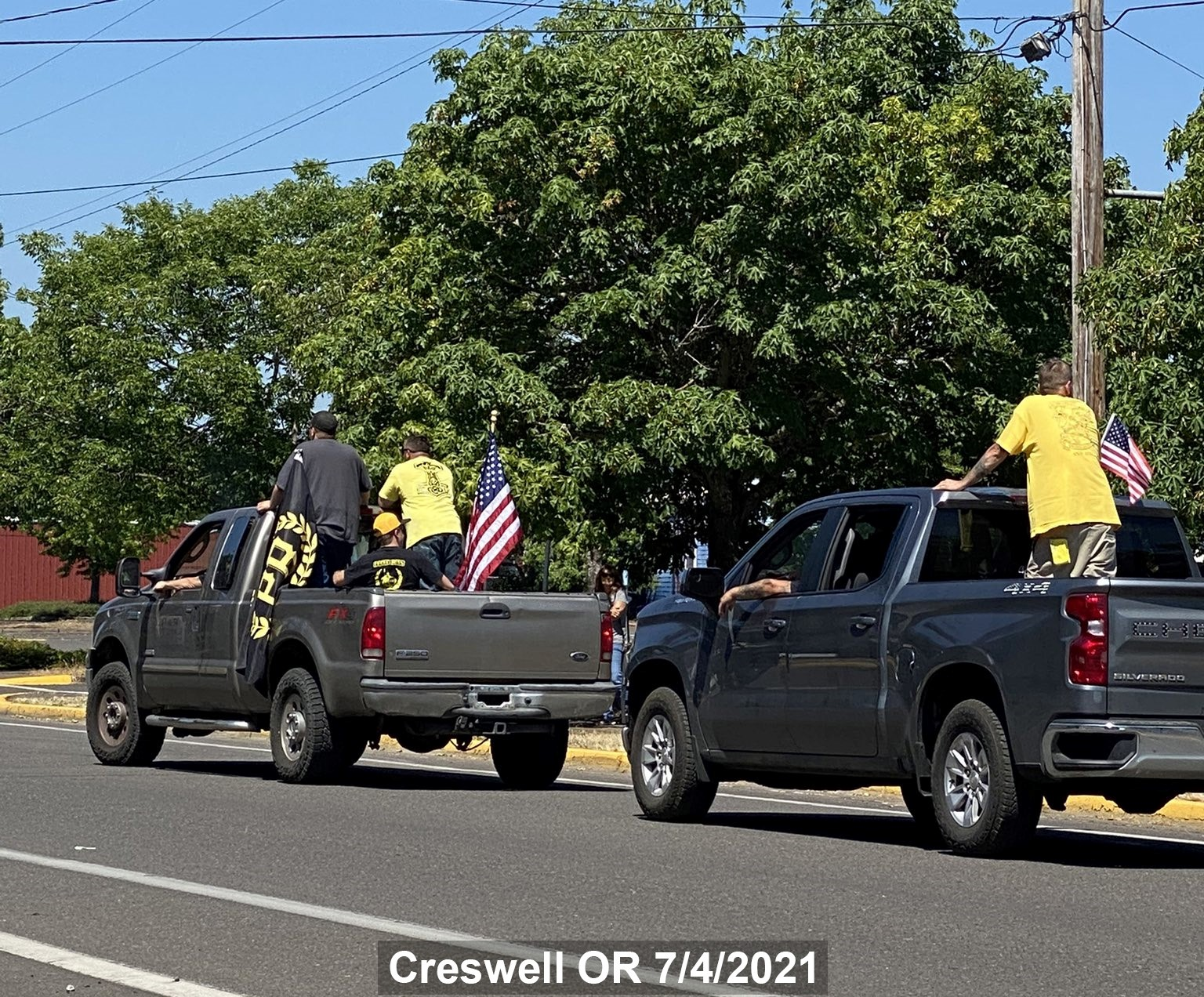 Proud Boys vehicles in the 4th of July parade