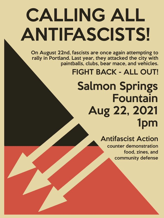"""a beige flyer with one corner split between red and black in a right triangle. Within the corner, the three iron front arrows are facing down and to the left. Flyer Text: """"Calling All Antifascists!"""" On august 22nd Fascists are once again attempting to rally"""