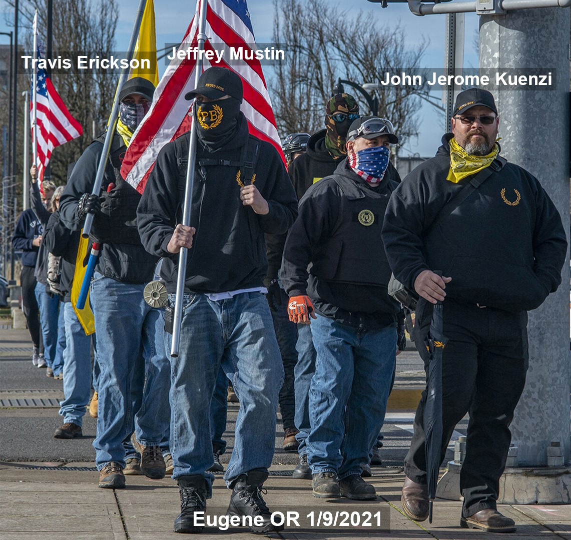 Proud Boys at a 1/9/2021 rally in Eugene.