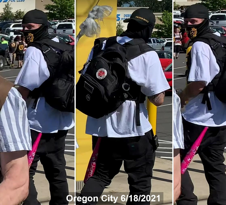 Jeffery Mustin in Oregon City with his pink baseball bat