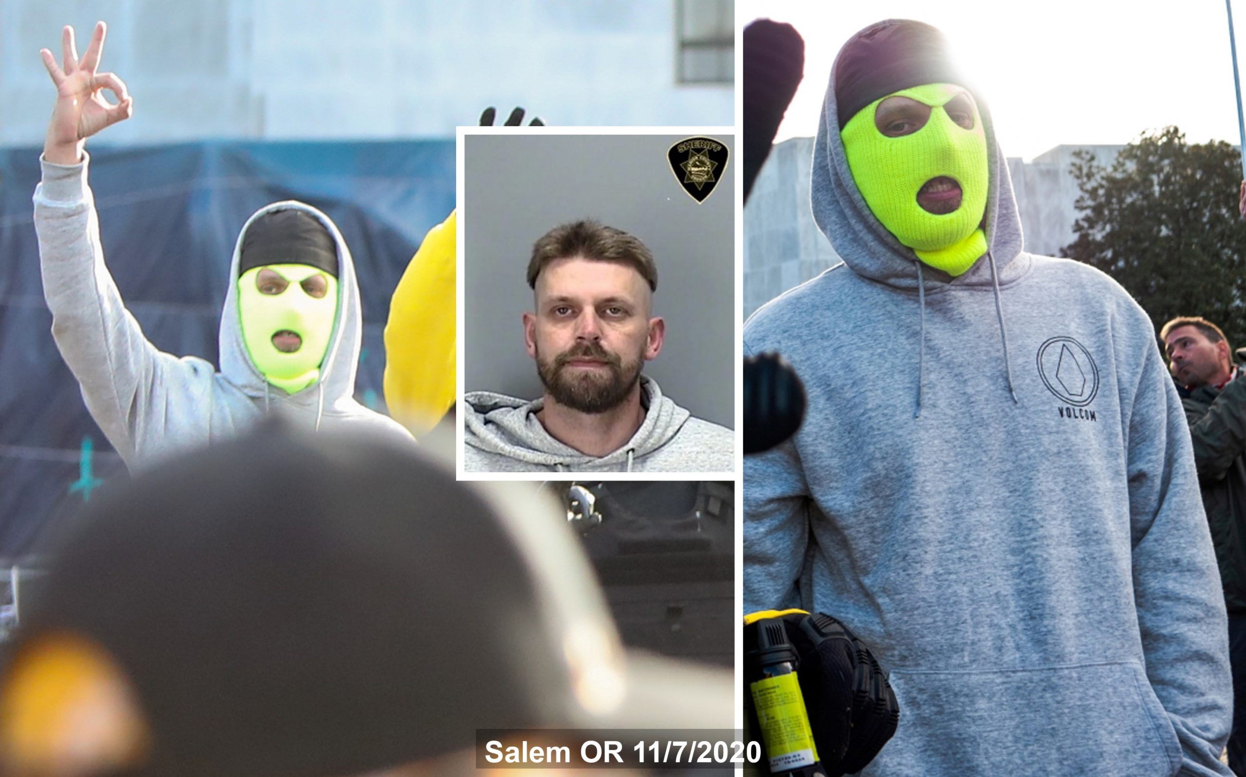three pics of Jeffrey Mustin on 11/7 in Salem Oregon. Two show him wearing a green ski mask, the third is a mugshot from his arrest.