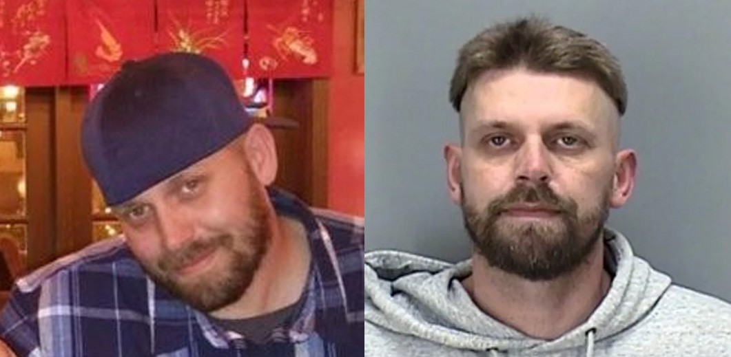 Two face photos of Jeffery Keith Mustin. One is a mugshot, the other is from social media.