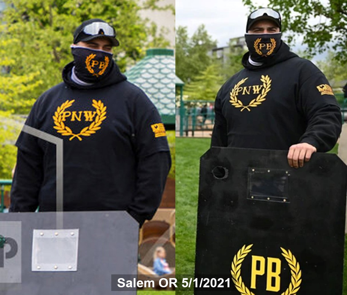 Travis Erickson stands near a Proud Boy shield on 5/1 in Salem.