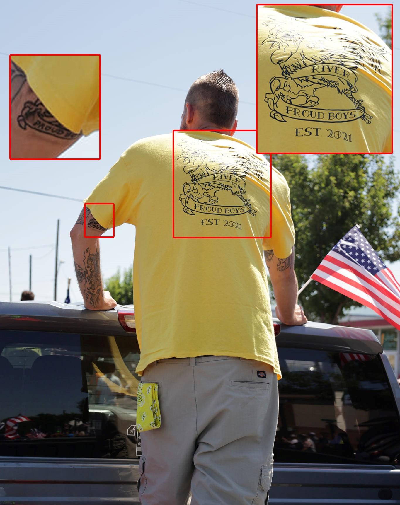 Jeffrey Keith Mustin wears a McKenzie River Proud Boy shirt