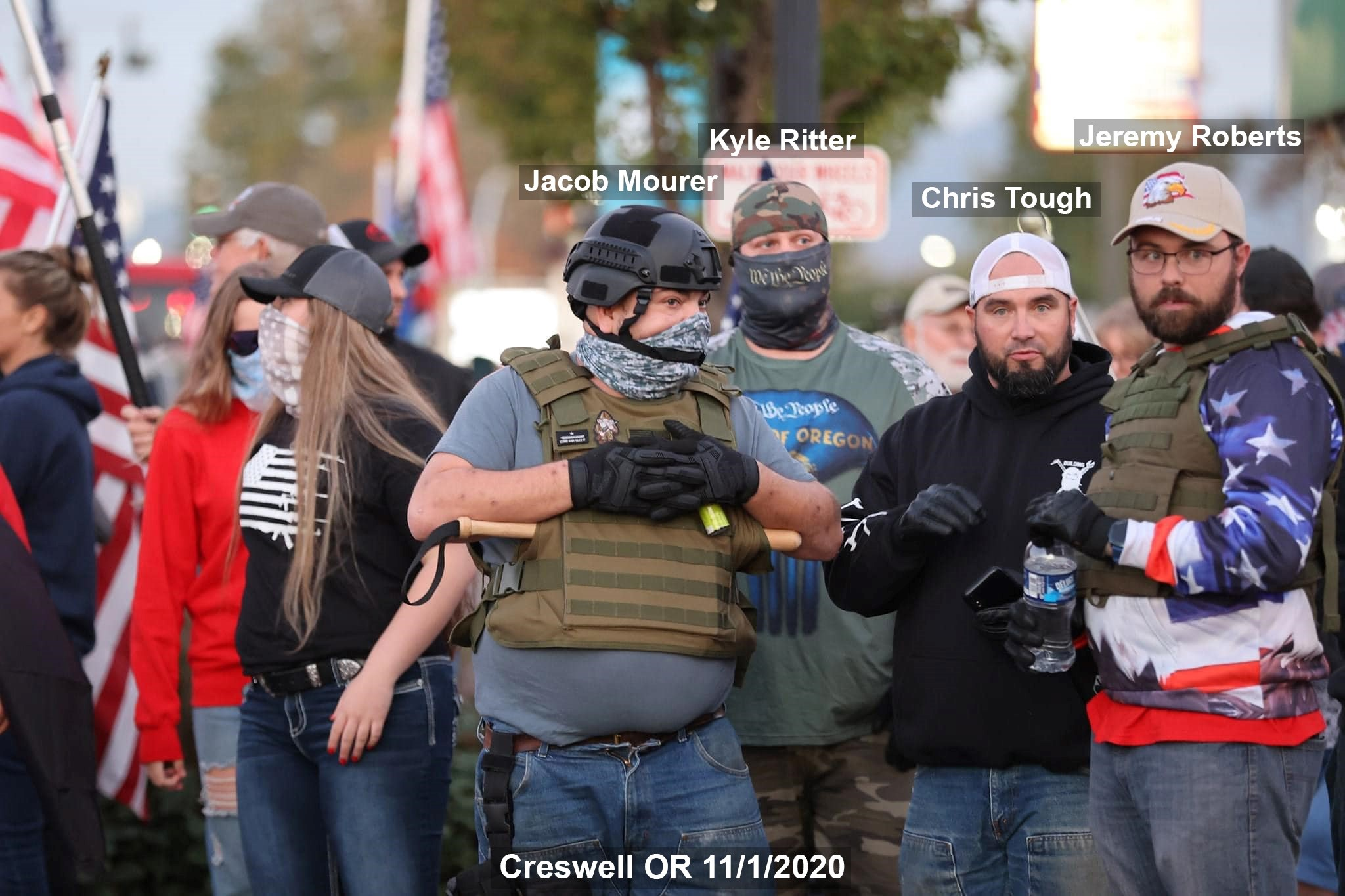 Jacob Mourer at an anti-BLM gathering in Creswell, OR on 11/1/2020