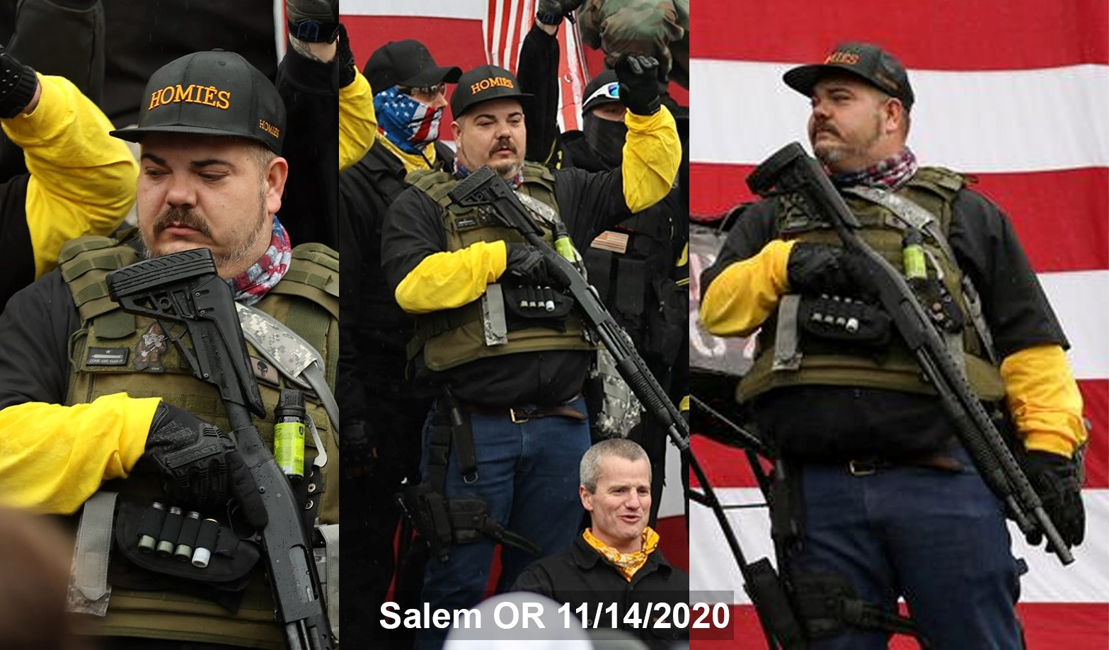 """Jake Mourer with a firearm during a """"Defeat the Steal"""" rally"""
