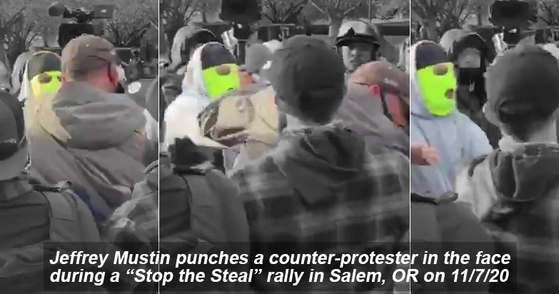 Jeffrey Mustin punches a counterprotester in the face on 11/7