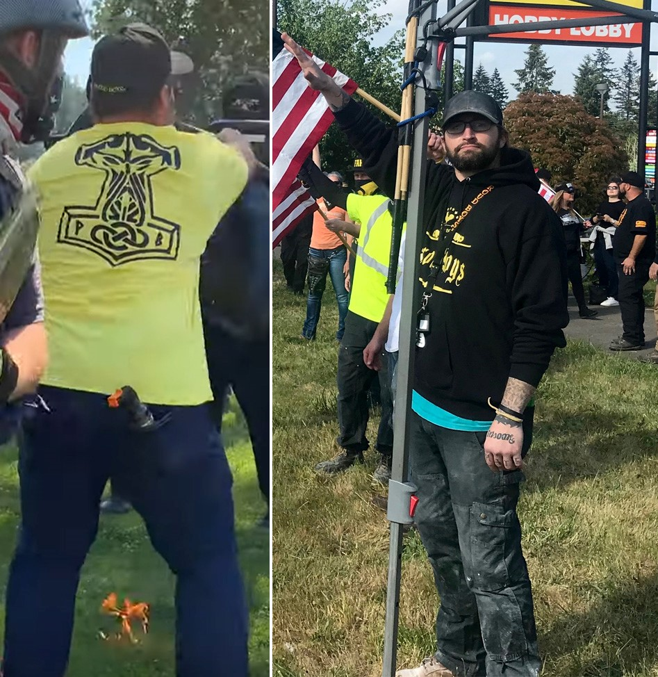 Left: A Proud Boy wears a Thor's hammer Proud Boy shirt. Right: A Proud Boy gives a Sieg Heil in Oregon City, OR.