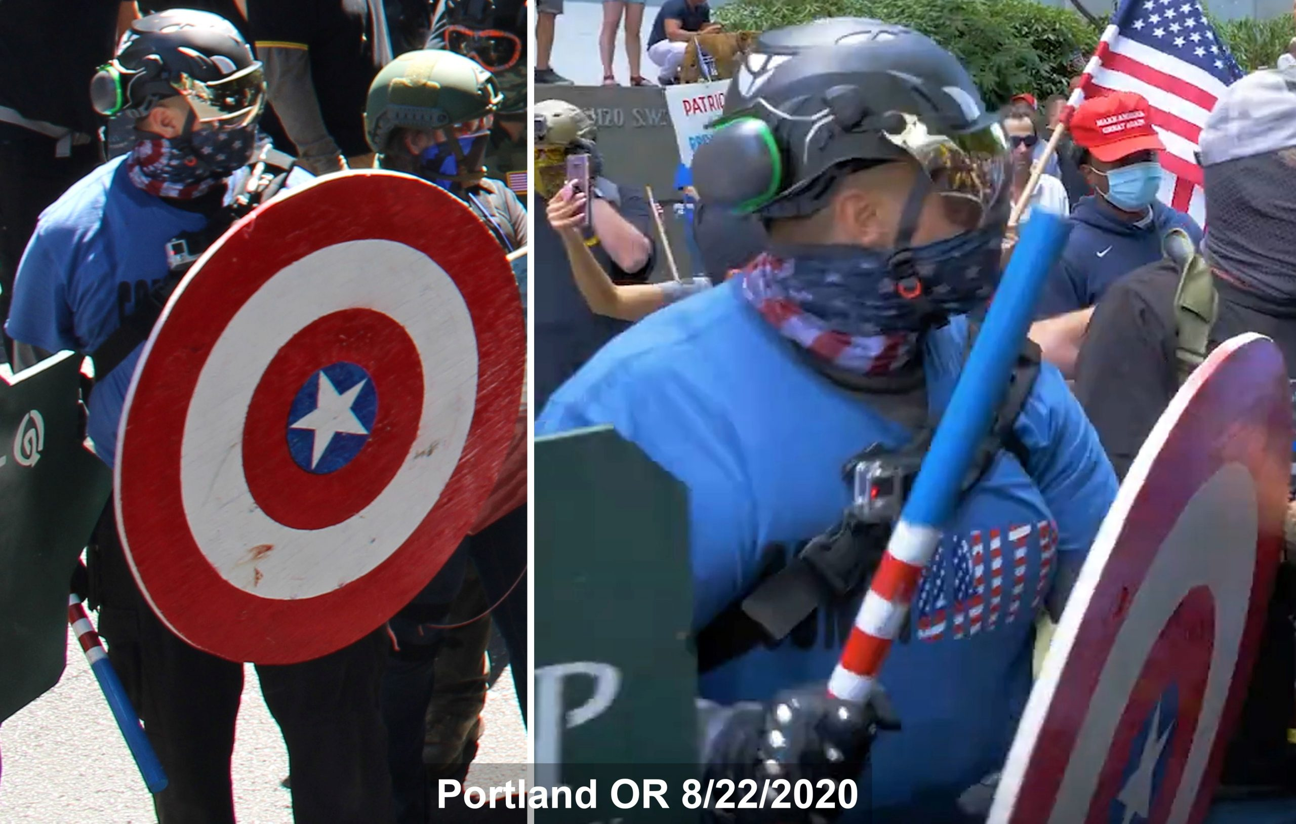 Travis Erickson carries a wooden shield and club on 8/22/2020