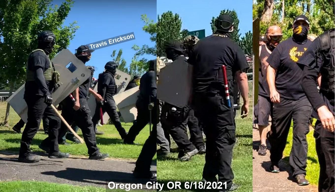 Travis Erickson in Proud Boy gear in Oregon City on June 18, 2021